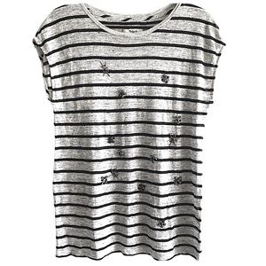 MADEWELL beaded linen striped shirt size medium